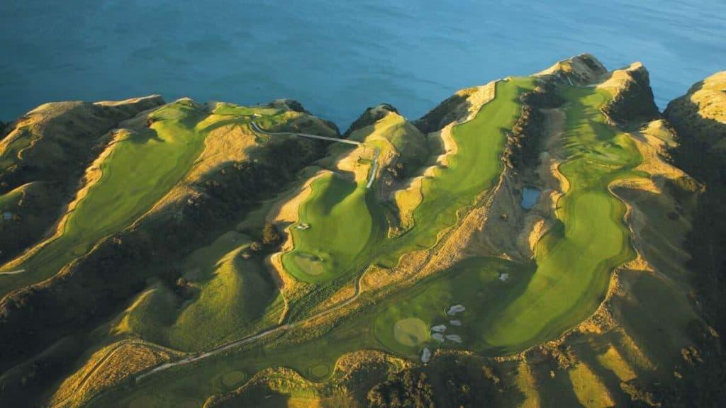 Golfbanan på Cape Kidnappers i Hawke's Bay på Nya Zeeland