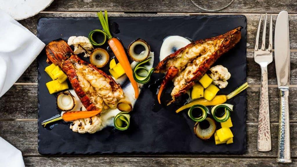 Färsk fisk och skaldjur på Birkenhead House.