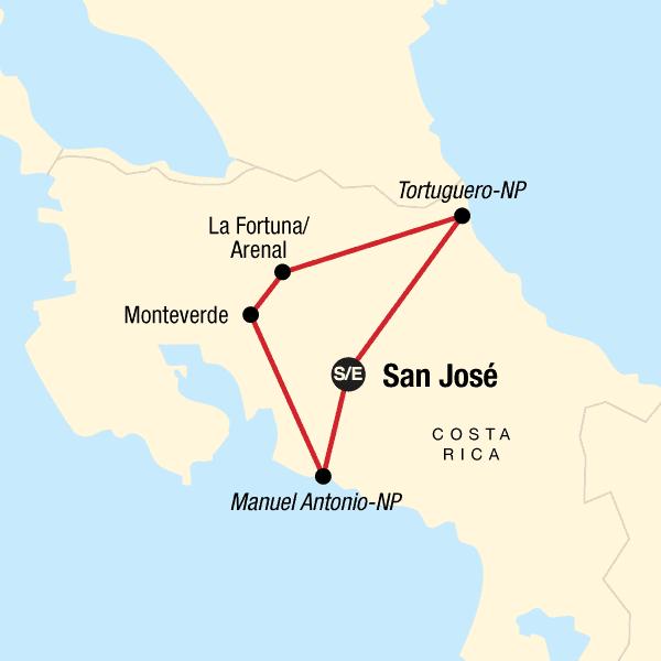 Karta Explore Costa Rica.