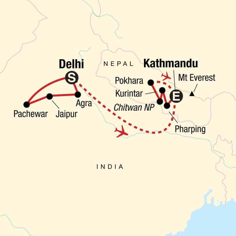 Utforska Indien och Nepal.